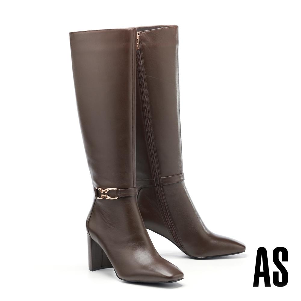 長靴 AS 時髦個性金屬釦繫帶造型全真皮方頭高跟長靴-咖