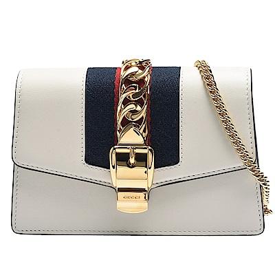 GUCCI Sylvie系列藍紅藍織帶牛皮磁釦手拿/斜背包(迷你-米白)