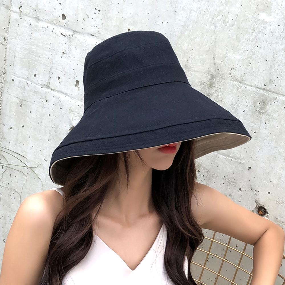 【KISSDIAMOND】大帽檐可摺疊收納雙面遮陽帽