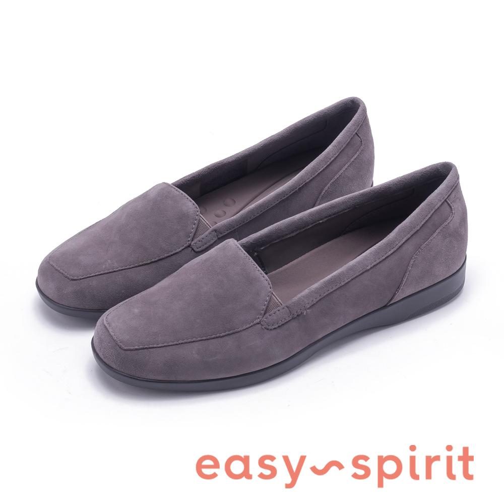 Easy Spirit DEVITT10 時尚絨面平底休閒鞋-絨灰