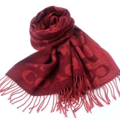 COACH   義大利製大C LOGO 寬版羊毛流蘇圍巾 _紅色