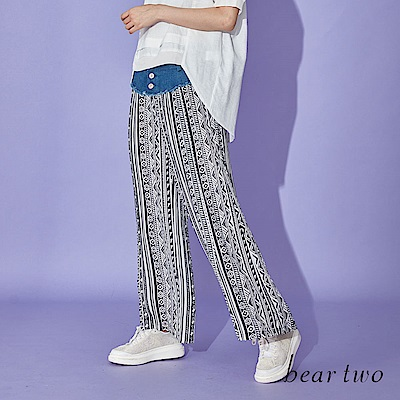 beartwo 拼接牛仔排釦民俗印花寬褲(黑色)