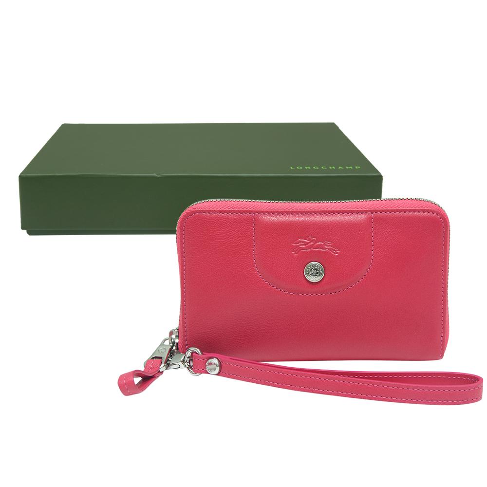 LONGCHAMP 壓印logo拉鍊牛皮手機/手拿包-粉紅色(附原廠禮盒)LONGCHAMP