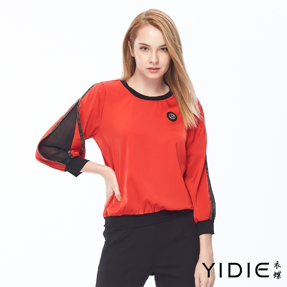 YIDIE衣蝶 精緻水鑽袖字造型上衣-紅