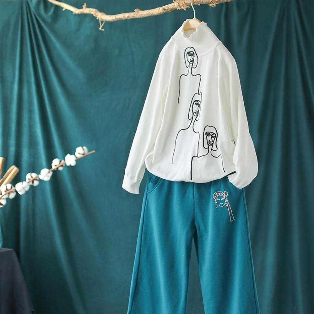 刺繡高領毛衣百搭韓版套頭針織上衣二色可選-設計所在