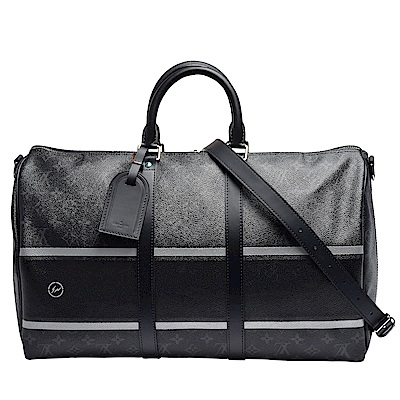 LV M43413 經典Keepall 45系列Monogram條紋印花牛皮飾邊兩用旅行袋
