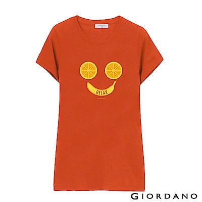 GIORDANO 女裝假期休閒印花T恤-68 新西瓜紅