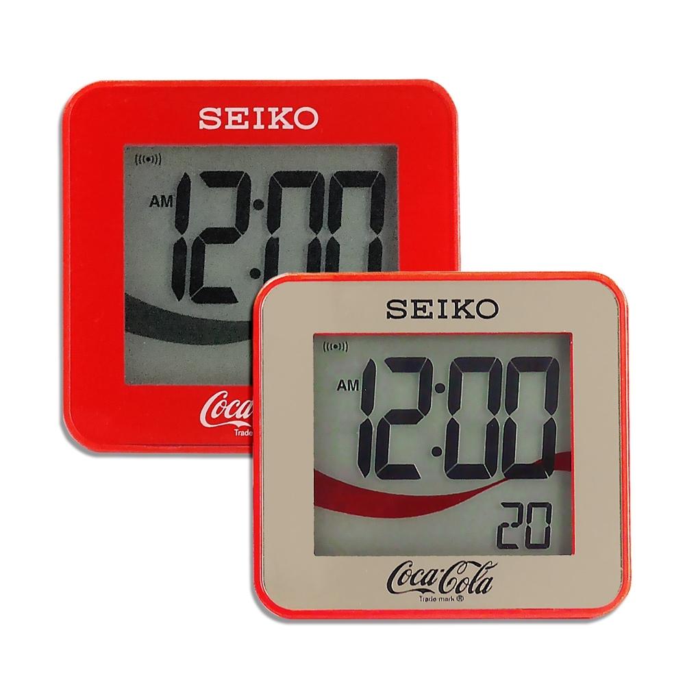 SEIKO 精工 / 可口可樂 日期 計時 貪睡鬧鈴 方形鬧鐘 電子鐘-金/紅