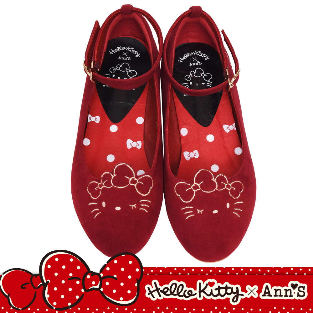 HELLO KITTY X Ann'S毛茸茸貓耳繫帶2WAY平底娃娃鞋-紅