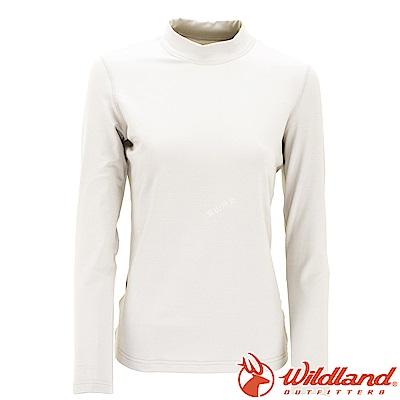Wildland 荒野 W2651-81米白色 女遠紅外線保暖中領衛生衣