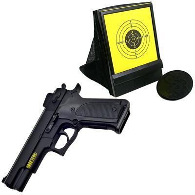 M1911造型6mm彈徑手拉式空氣BB槍+網狀帶集彈器槍靶