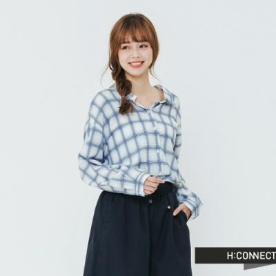 H:CONNECT 韓國品牌 女裝 -落肩格紋棉質襯衫-白(快)
