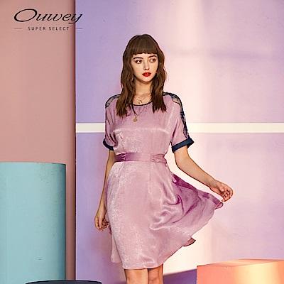OUWEY歐薇 緞面綁帶剪接蕾絲連袖洋裝(粉)