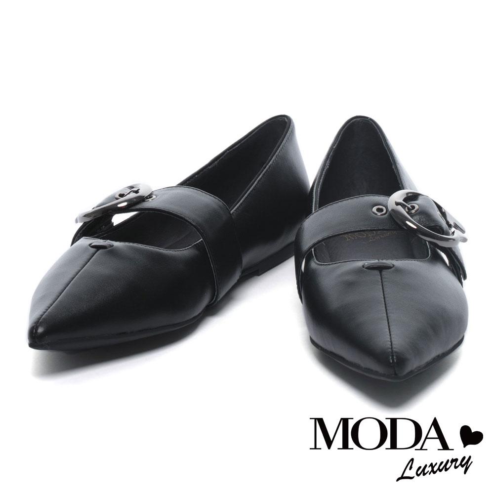 平底鞋 MODA Luxury 時尚個性金屬圓釦尖頭全真皮平底鞋-黑