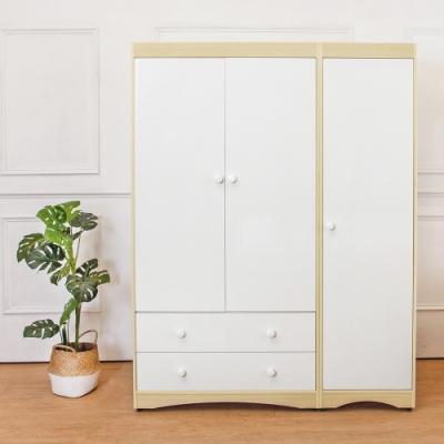 Birdie南亞塑鋼-4.7尺三門二抽塑鋼衣櫃-二吊桿-白橡+白-143x58x190cm