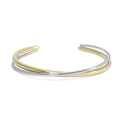 Calvin Klein CK Double簡約交織雙環銀x金細手環