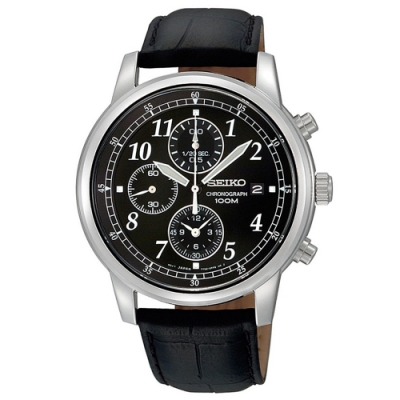 SEIKO精工   復古風格三眼計時石英腕錶(SNDC33P1)-黑x40mm