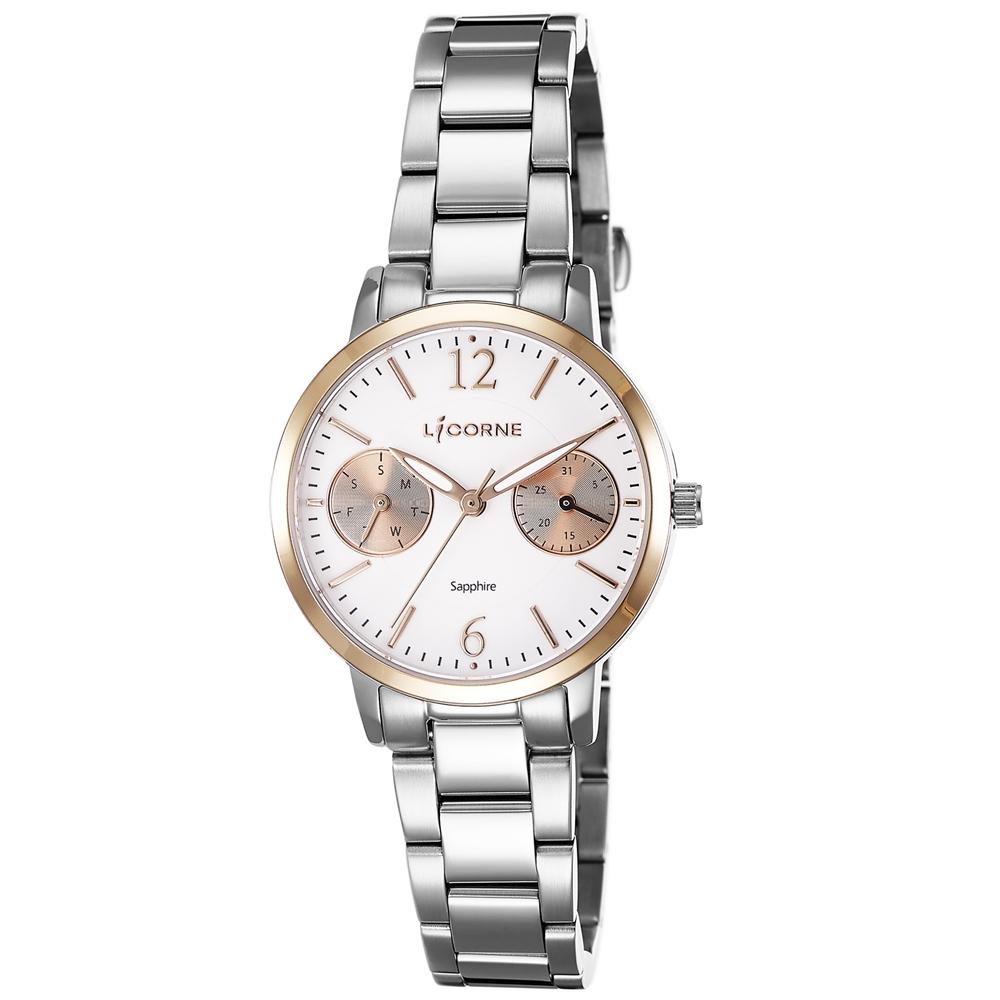 LICORNE 力抗錶 花漾時光雙眼手錶-銀x白/30mm @ Y!購物