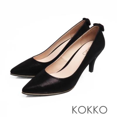 KOKKO - 幸福預兆蝴蝶結水鑽羊皮高跟鞋-優雅黑
