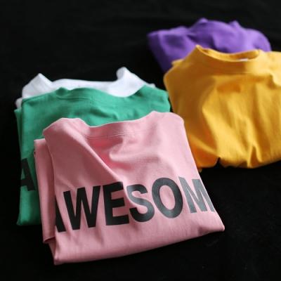 圓領印花T恤長袖衛衣中長版寬鬆上衣-設計所在