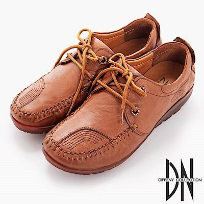 DN 歐美簡約 羊皮厚底鞋帶休閒鞋-棕