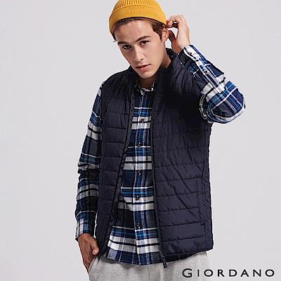 GIORDANO 男裝輕量立領鋪棉背心-59 炭綠