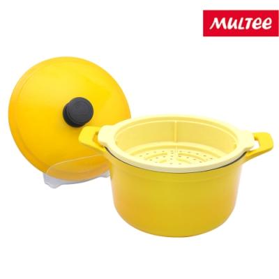 MULTEE摩堤 鑄鐵圓鍋22cm+矽晶蒸籠20cm-鵝黃款