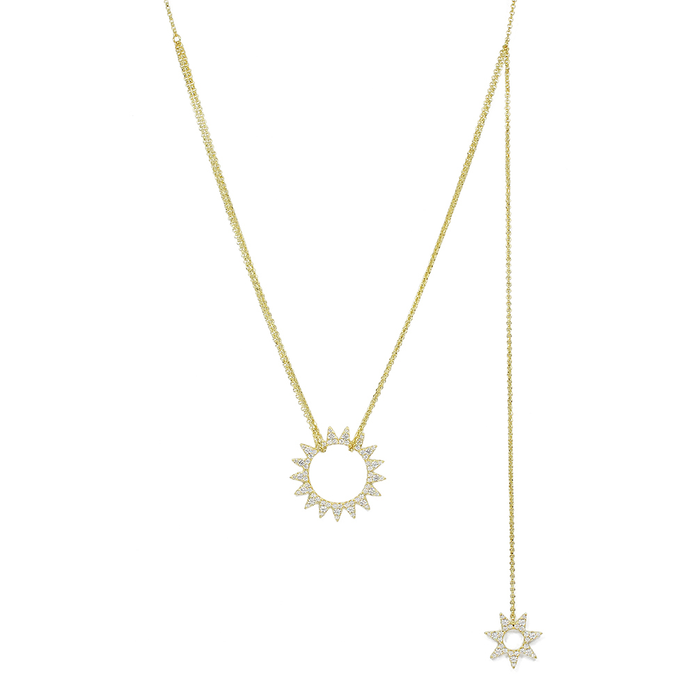 apm MONACO法國精品珠寶 金色太陽層次感可調整項鍊