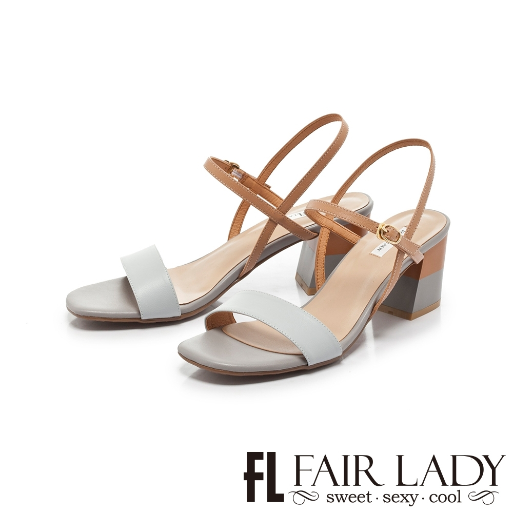 FAIR LADY Early Summer一字繫帶撞色塊根方頭涼鞋 藍 product image 1
