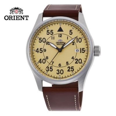 ORIENT 東方錶 WATER RESISTANT 100m系列 飛行機械錶 皮帶款 黃色 RA-AC0H04Y - 42.4mm