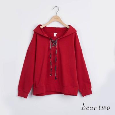 bear two- 條紋綁帶帽T - 紅