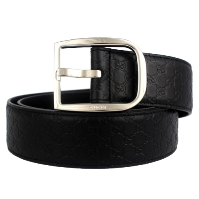 GUCCI 馬蹄鐵扣頭黑色真皮壓紋皮帶(95cm)