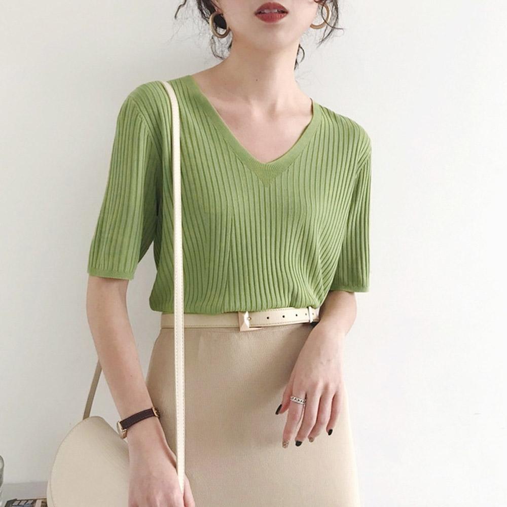 ALLK 歐楷 超彈力壓紋針織上衣 共8色(尺寸F 任選) (綠色)
