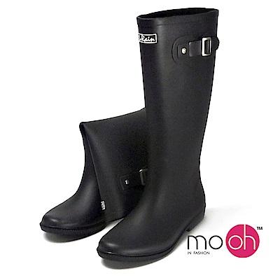 mo.oh 愛雨天-素面柔軟皮帶搭扣長筒雨鞋-黑色