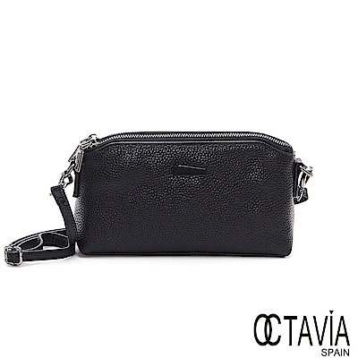 OCTAVIA 8真皮 - 原本山 日系雙層拉鍊隨身牛皮斜背小包 - 百變黑