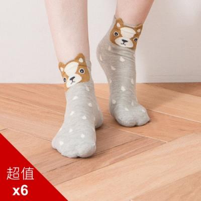 貝柔韓風立體少女襪-吉娃娃(6雙組)