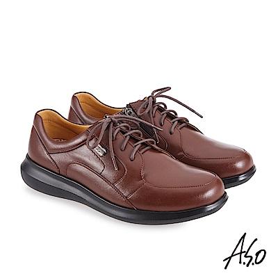 A.S.O機能休閒 萬步健康鞋 內腰拉鍊設計款商務休閒鞋-茶