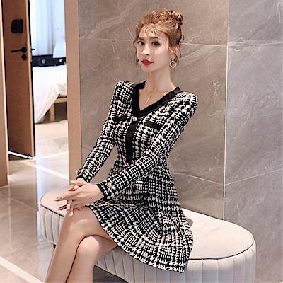 DABI 韓國風千鳥格毛衣裙針織加厚長袖洋裝