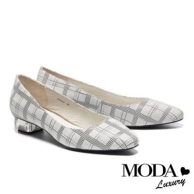 低跟鞋 MODA Luxury 復古清新格紋透明造型低跟鞋-黑格