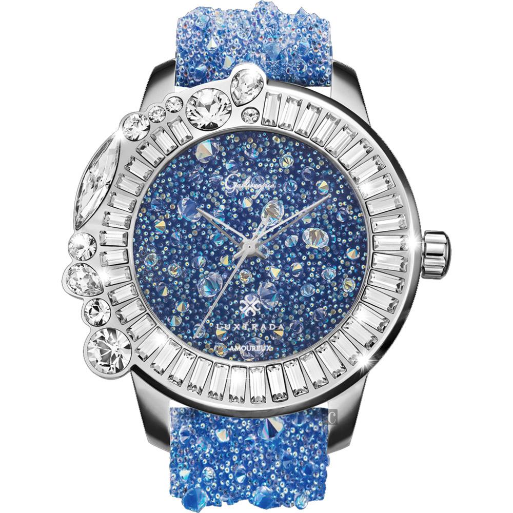 Galtiscopio迦堤 星鑽浪漫系列閃耀水晶錶-藍/48mm