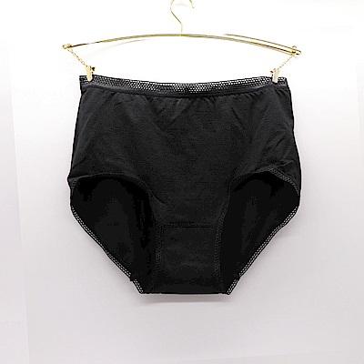 莎露-素面 M-3L 三角內褲(黑)包臀舒適