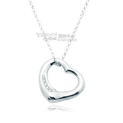 Tiffany&Co.Open Heart愛心墜飾925純銀項鍊-鑲5鑽