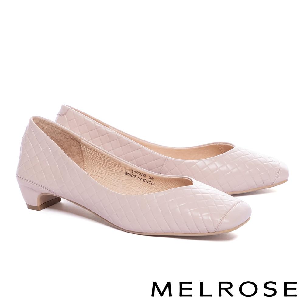 高跟鞋 MELROSE 都會經典菱格壓紋牛皮方頭低跟鞋-粉