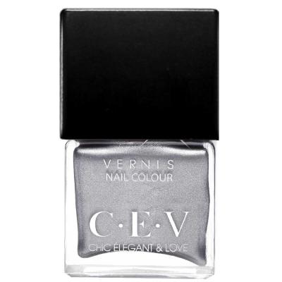 CEV輕奢指甲油 LC05銀色月光 15mL黑蓋