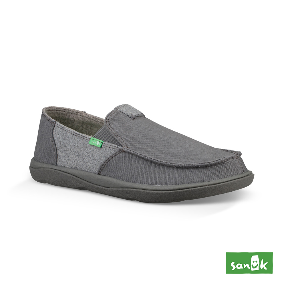 SANUK VAGABOND 內刷毛寬版帆布懶人鞋-男款(灰色)1095083 GYGY