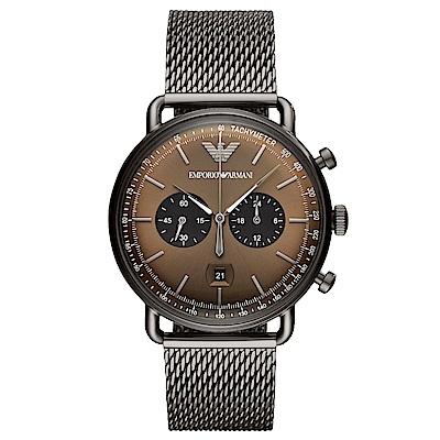 Emporio Armani 質感米蘭帶計時手錶(AR11141)-咖啡/43mm
