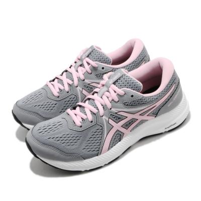 Asics 慢跑鞋 Gel Contend 7 寬楦 女鞋 亞瑟士 路跑 耐磨 緩衝 亞瑟膠 灰 粉 1012A910022