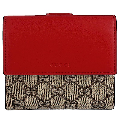 GUCCI GG Superme 紅色皮革印花帆布中夾(10卡)