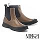 短靴 MISS 21 潮酷日常牛皮側鬆緊圓頭厚底短靴-褐 product thumbnail 1