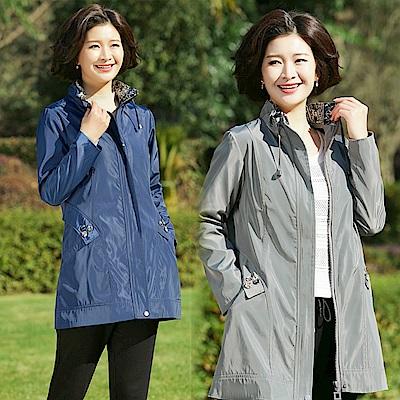 休閒印花立領純色風衣外套L~4XL(共二色)-理子時尚
